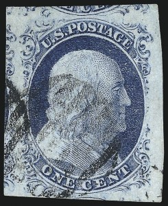 Sale Number 998, Lot Number 149, Plate One Late Gem Examples1c Blue, Ty. IV (9), 1c Blue, Ty. IV (9)