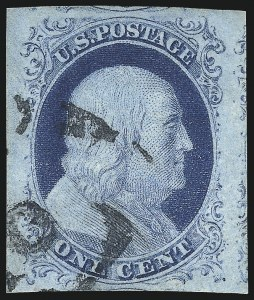 Sale Number 998, Lot Number 150, Plate One Late Gem Examples1c Blue, Ty. IV (9), 1c Blue, Ty. IV (9)