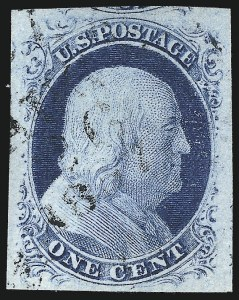 Sale Number 998, Lot Number 151, Plate One Late Gem Examples1c Blue, Ty. IV (9), 1c Blue, Ty. IV (9)