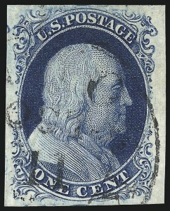 Sale Number 998, Lot Number 153, Plate One Late Gem Examples1c Blue, Ty. IV (9), 1c Blue, Ty. IV (9)