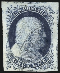 Sale Number 998, Lot Number 154, Plate One Late Gem Examples1c Blue, Ty. IV (9), 1c Blue, Ty. IV (9)