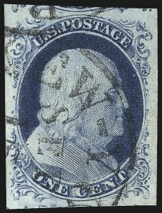 Sale Number 998, Lot Number 155, Plate One Late Gem Examples1c Blue, Ty. IV (9), 1c Blue, Ty. IV (9)