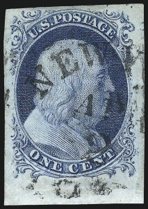 Sale Number 998, Lot Number 158, Plate One Late Gem Examples1c Blue, Ty. IV (9), 1c Blue, Ty. IV (9)