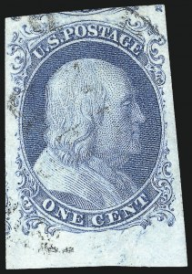 Sale Number 998, Lot Number 159, Plate One Late Gem Examples1c Blue, Ty. IV (9), 1c Blue, Ty. IV (9)