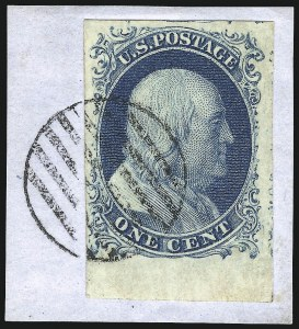 Sale Number 998, Lot Number 160, Plate One Late Gem Examples1c Blue, Ty. IV (9), 1c Blue, Ty. IV (9)