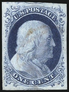 Sale Number 998, Lot Number 162, Plate One Late Gem Examples1c Blue, Ty. IV (9), 1c Blue, Ty. IV (9)