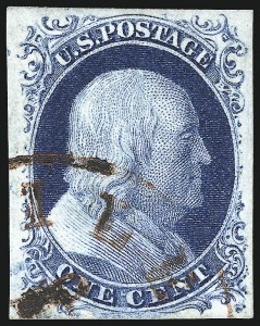 Sale Number 998, Lot Number 166, Plate One Late Gem Examples1c Blue, Ty. IV (9), 1c Blue, Ty. IV (9)