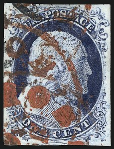 Sale Number 998, Lot Number 168, Plate One Late Gem Examples1c Blue, Ty. IV (9), 1c Blue, Ty. IV (9)