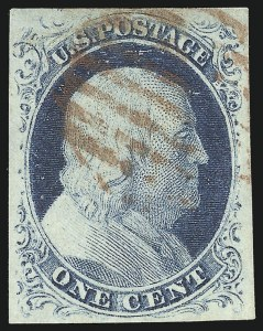 Sale Number 998, Lot Number 169, Plate One Late Gem Examples1c Blue, Ty. IV (9), 1c Blue, Ty. IV (9)