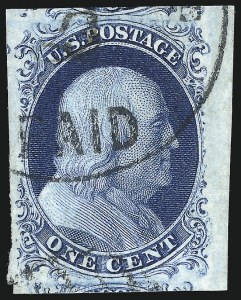 Sale Number 998, Lot Number 172, Plate One Late Gem Examples1c Blue, Ty. IV (9), 1c Blue, Ty. IV (9)