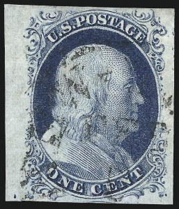 Sale Number 998, Lot Number 174, Plate One Late Gem Examples1c Blue, Ty. IV (9), 1c Blue, Ty. IV (9)