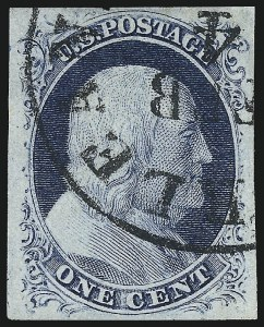 Sale Number 998, Lot Number 175, Plate One Late Gem Examples1c Blue, Ty. IV (9), 1c Blue, Ty. IV (9)