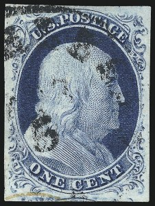 Sale Number 998, Lot Number 176, Plate One Late Gem Examples1c Blue, Ty. IV (9), 1c Blue, Ty. IV (9)