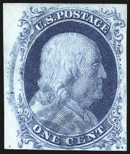 Sale Number 998, Lot Number 18, Plate One Early - Type II Gem Examples1c Blue, Ty. II (7), 1c Blue, Ty. II (7)