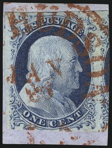 Sale Number 998, Lot Number 182, Plate One Late Gem Examples1c Blue, Ty. IV (9), 1c Blue, Ty. IV (9)