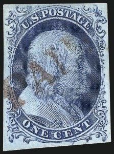 Sale Number 998, Lot Number 184, Plate One Late Gem Examples1c Blue, Ty. IV (9), 1c Blue, Ty. IV (9)