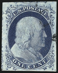 Sale Number 998, Lot Number 185, Plate One Late Gem Examples1c Blue, Ty. IV (9), 1c Blue, Ty. IV (9)