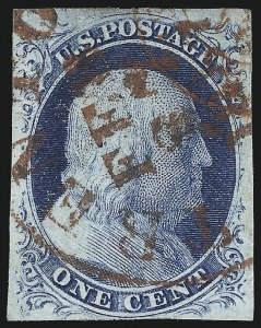Sale Number 998, Lot Number 186, Plate One Late Gem Examples1c Blue, Ty. IV (9), 1c Blue, Ty. IV (9)
