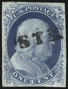 Sale Number 998, Lot Number 187, Plate One Late Gem Examples1c Blue, Ty. IV (9), 1c Blue, Ty. IV (9)