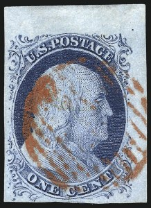 Sale Number 998, Lot Number 188, Plate One Late Gem Examples1c Blue, Ty. IV (9), 1c Blue, Ty. IV (9)