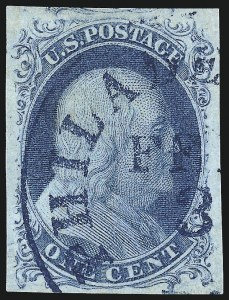 Sale Number 998, Lot Number 19, Plate One Early - Type II Gem Examples1c Blue, Ty. II (7), 1c Blue, Ty. II (7)