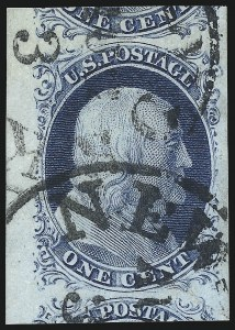 Sale Number 998, Lot Number 191, Plate One Late Gem Examples1c Blue, Ty. IV (9), 1c Blue, Ty. IV (9)