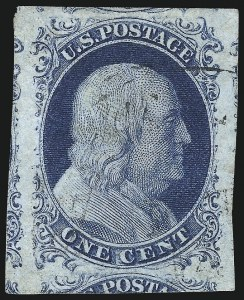 Sale Number 998, Lot Number 192, Plate One Late Gem Examples1c Blue, Ty. IV (9), 1c Blue, Ty. IV (9)