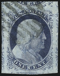 Sale Number 998, Lot Number 193, Plate One Late Gem Examples1c Blue, Ty. IV (9), 1c Blue, Ty. IV (9)