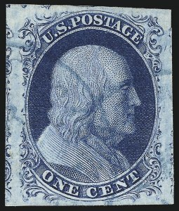 Sale Number 998, Lot Number 194, Plate One Late Gem Examples1c Blue, Ty. IV (9), 1c Blue, Ty. IV (9)