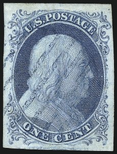 Sale Number 998, Lot Number 20, Plate One Early - Type II Gem Examples1c Blue, Ty. II (7), 1c Blue, Ty. II (7)