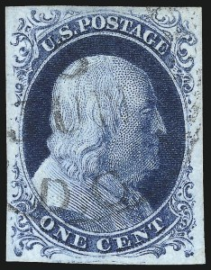 Sale Number 998, Lot Number 21, Plate One Early - Type II Gem Examples1c Blue, Ty. II (7), 1c Blue, Ty. II (7)