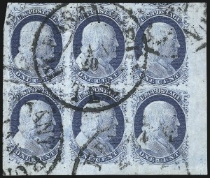 Sale Number 998, Lot Number 227, Plate One Late Blocks1c Blue, Ty. IV (9), 1c Blue, Ty. IV (9)