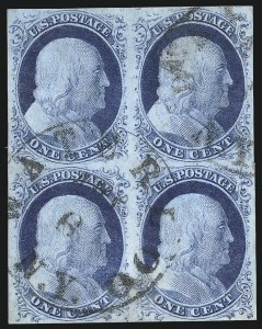Sale Number 998, Lot Number 229, Plate One Late Blocks1c Blue, Ty. IV (9), 1c Blue, Ty. IV (9)