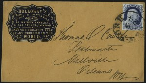 Sale Number 998, Lot Number 232, Plate One Late On Cover1c Blue, Ty. IV (9), 1c Blue, Ty. IV (9)