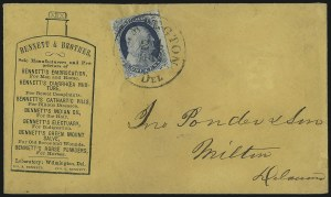 Sale Number 998, Lot Number 233, Plate One Late On Cover1c Blue, Ty. IV (9), 1c Blue, Ty. IV (9)