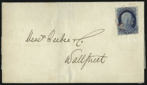 Sale Number 998, Lot Number 236, Plate One Late On Cover1c Blue, Ty. IV (9), 1c Blue, Ty. IV (9)