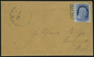 Sale Number 998, Lot Number 238, Plate One Late On Cover1c Blue, Ty. IV (9), 1c Blue, Ty. IV (9)