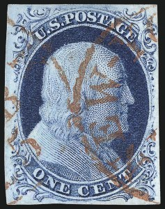Sale Number 998, Lot Number 24, Plate One Early - Type II Gem Examples1c Blue, Ty. II (7), 1c Blue, Ty. II (7)