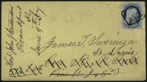 Sale Number 998, Lot Number 240, Plate One Late On Cover1c Blue, Ty. IV (9), 1c Blue, Ty. IV (9)