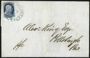 Sale Number 998, Lot Number 241, Plate One Late On Cover1c Blue, Ty. IV (9), 1c Blue, Ty. IV (9)