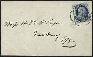Sale Number 998, Lot Number 244, Plate One Late On Cover1c Blue, Ty. IV (9), 1c Blue, Ty. IV (9)