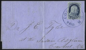 Sale Number 998, Lot Number 245, Plate One Late On Cover1c Blue, Ty. IV (9), 1c Blue, Ty. IV (9)