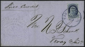 Sale Number 998, Lot Number 252, Plate One Late On Cover1c Blue, Ty. IV (9), 1c Blue, Ty. IV (9)