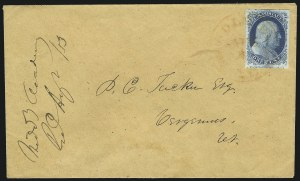 Sale Number 998, Lot Number 256, Plate One Late On Cover1c Blue, Ty. IV (9), 1c Blue, Ty. IV (9)