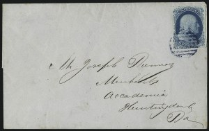 Sale Number 998, Lot Number 258, Plate One Late On Cover1c Blue, Ty. IV (9), 1c Blue, Ty. IV (9)
