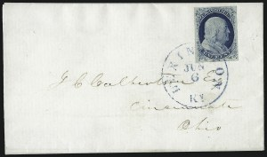 Sale Number 998, Lot Number 262, Plate One Late On Cover1c Blue, Ty. IV (9), 1c Blue, Ty. IV (9)