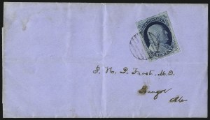 Sale Number 998, Lot Number 264, Plate One Late On Cover1c Blue, Ty. IV (9), 1c Blue, Ty. IV (9)