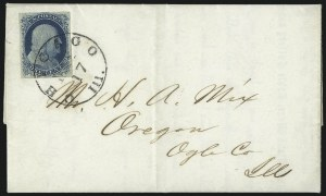 Sale Number 998, Lot Number 265, Plate One Late On Cover1c Blue, Ty. IV (9), 1c Blue, Ty. IV (9)