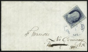 Sale Number 998, Lot Number 267, Plate One Late On Cover1c Blue, Ty. IV (9), 1c Blue, Ty. IV (9)