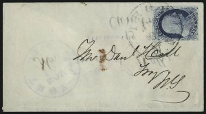 Sale Number 998, Lot Number 270, Plate One Late On Cover1c Blue, Ty. IV (9), 1c Blue, Ty. IV (9)